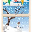 Winter view through window — Stock Vector