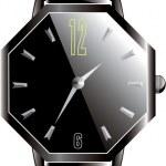 luksusowy czarny zegarek - wektor — Wektor stockowy  #12734341