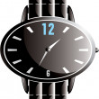 Luxury black watch - vector — Stock Vector