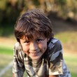 Stock Photo: Happy smiling boy in park near sunset