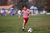 Boy playing soccer in the park — Stock Photo