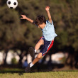 Young boy kicking a soccer ball in the park — Stock Photo #18288459