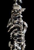 Close up of clarinet on black background — Stock Photo