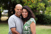 Mixed race couple outside — Stock Photo