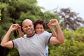 Mixed race father and son — Stock Photo