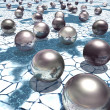 Reflective metal spheres on an icy alien landscape — Stock Photo