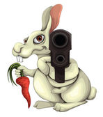 Rabbit With A Gun — Stock Vector