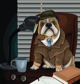 Bulldog Detective — Stock Vector