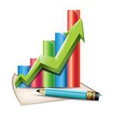 Biznes wykres za pomocą strzałek i pióra — Wektor stockowy