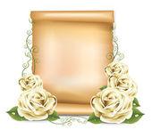 Papel de rosas blancas — Vector de stock