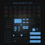 saubere Webelemente set schwarz — Stockvektor