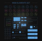 Clean web elements set black — Stock Vector