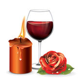 Candle Rose Wine — Stock Vector