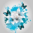 Blue Flowers Background — 图库矢量图片