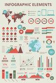 Establecer elementos de infografía gráficos de información y mapa de mundo — Vector de stock