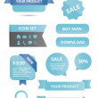 Stockvektor : Modern glossy web elements set blue