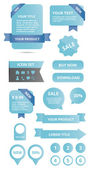 Elementos web brillante moderno conjunto azules — Vector de stock