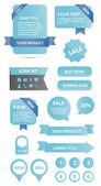 Nowoczesny tkanina błyszcząca elementów zestaw niebieski — Wektor stockowy