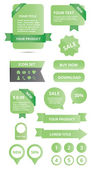 Modern glossy web elements set green — Stockvector