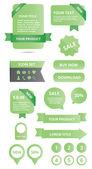 Modern glossy web elements set green — Stock Vector
