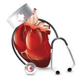 Lekarz realistyczne serca — Wektor stockowy