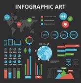 Infographic elements set black — Stock Vector