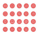 Clean icons set red — Vetorial Stock