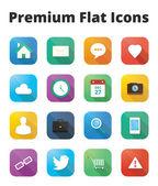 Conjunto de iconos plana premium — Vector de stock
