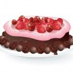 Fruit Chocolate Cake — Stock Vector