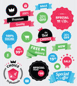 Set of vector stickers and ribbons — Vector de stock