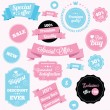 图库矢量图片: Fashion shop vector stickers and ribbons