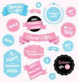 Fashion shop vector stickers and ribbons — Vecteur
