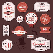 Vintage set of vector stickers and ribbons — Vettoriale Stock