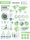 Modern infographic elements set green — Stock Vector