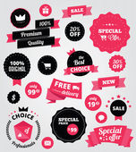 Vector stickers and ribbons set red — Vettoriale Stock