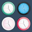Stylish vector clocks set dark blue background — Imagens vectoriais em stock