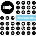 Black white vector arrow icons set — Stock Vector #27464071