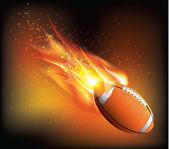 Rugby bal vliegen — Stockvector