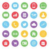 Kleurrijke bedrijfs- en ecommerce iconen instellen — Stockvector