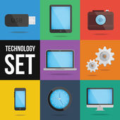 Technology and devices icons set — Vector de stock