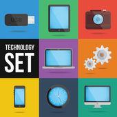テクノロジーとデバイスのアイコンを設定 — ストックベクタ