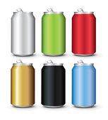 Modello di lattine in alluminio colore impostato — Vettoriale Stock