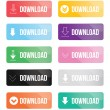 Colorful download buttons set — Stock Vector