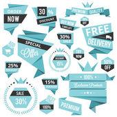 Snygg rabatterade försäljning konceptet etiketter och klistermärken — Stockvektor