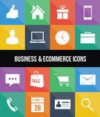 Elegantes coloridos iconos de negocios y comercio electrónico — Vector de stock