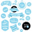 Set of Premium Vector Stickers and Ribbons Blue — Vector de stock #28167615