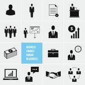 Gestión empresarial y recursos humanos vector conjunto de iconos — Vector de stock