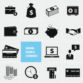 Business Ecommerce Banking and Finance Money Icons Set — ストックベクタ