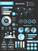 Modern Infographic Elements Set Black — Vector de stock