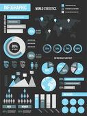 Modern Infographic Elements Set Black — Stock Vector